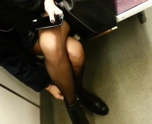 Candid sexy pantyhose in subway 5