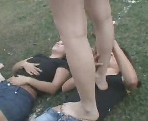 4 Lesbian girls enjoy kissing and trampling