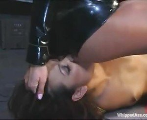 Asian Lesbo Slave Gets Face Slapped and Licks White Ass