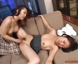 2 Asian Schoolgirls Licking Pussies In 69 Rubbing In Scissor On The Couch In The