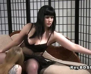 Submissive babe takes strap on fuck