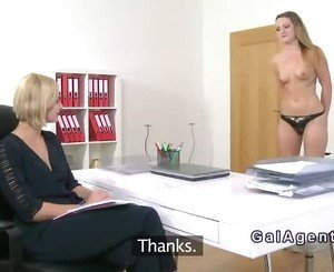 Beautiful ass babe licks her agent