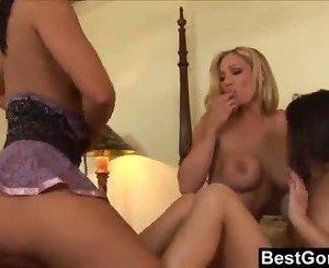 Surprise Lesbian Threesome In Bed