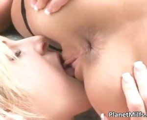 Lesbian outdoor play where hot blonde