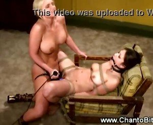 Bound and gagged whore strapon fucked by her master