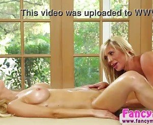 Two sexy blondes Alix Lynx and Tasha Reign in lesbian action