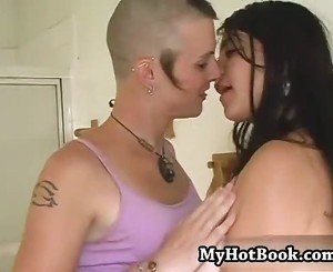 Brunettes Julie Aurora and Polly Garter are lesbia