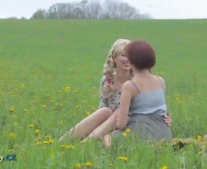 Mom and daughter outdoor lesbian adventure